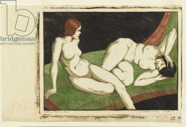 Resting models, 1933-34 (colour linocut)
