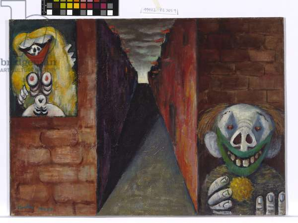 Image of modern evil: Woman and clown, 1943 (oil on canvas on composition board)