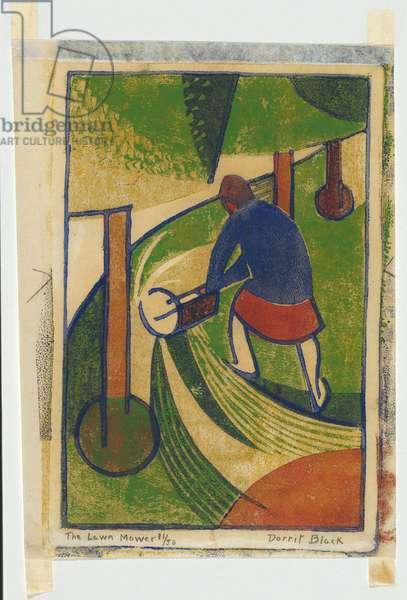 The lawn mower, c.1932 (colour linocut)