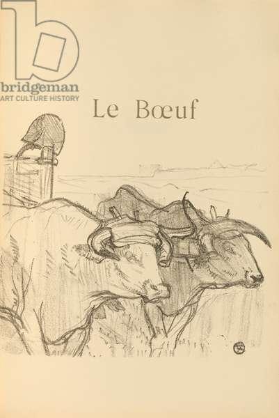 Le Boeuf, illustration from 'Histoires naturelles' by Jules Renard, 1897 (brush transfer litho)
