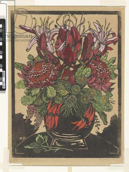 Illawarra lilies and waratahs, 1929 (hand-coloured woodcut)