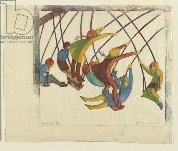 Swings, 1932 (colour linocut)