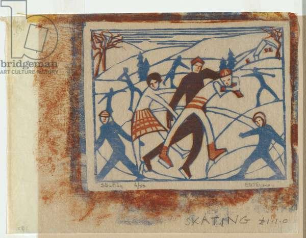 Skating, 1929 (colour linocut)