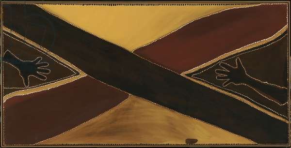 Roads meeting, 1987 (natural pigments & binder on canvas)