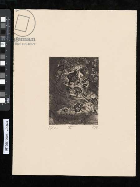 Dying soldier, illustration from the portfolio 'Der Krieg', 1924 (etching, aquatint & drypoint)