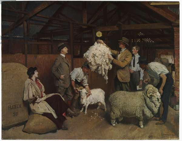 Weighing the Fleece, 1921 (oil on canvas)