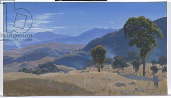 Murrumbidgee Ranges, Canberra, 1934 (oil on canvas)