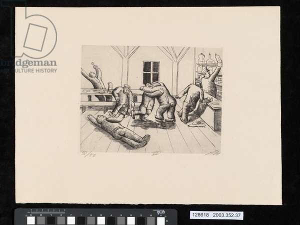 Canteen in Haplincourt, from the portfolio 'Der Krieg', 1924 (etching)