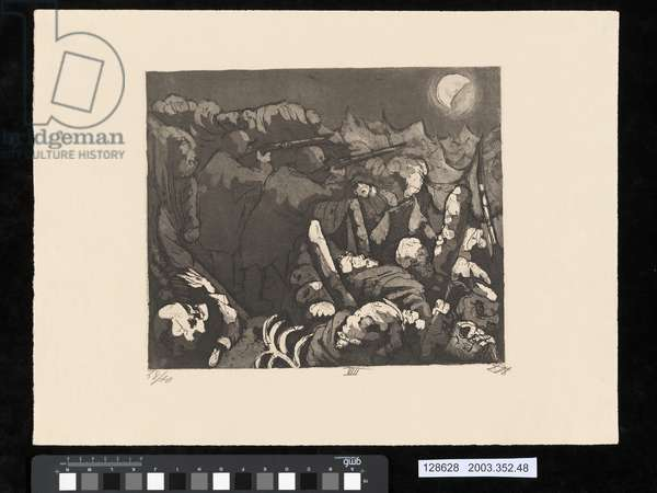 At night, the men in the trenches have to keep firing, illustration from the portfolio 'Der Krieg', 1924 (etching, aquatint & drypoint)