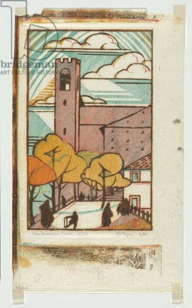 San Domenico, Siena, 1931 (colour linocut)