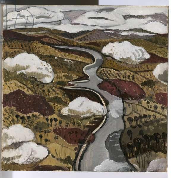 Flying over Shoalhaven River, 1942 (oil on canvas)