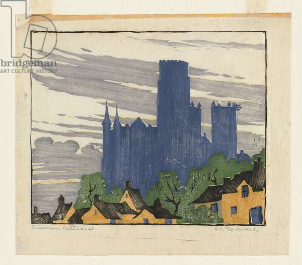Durham Cathedral, c.1924 (colour linocut)