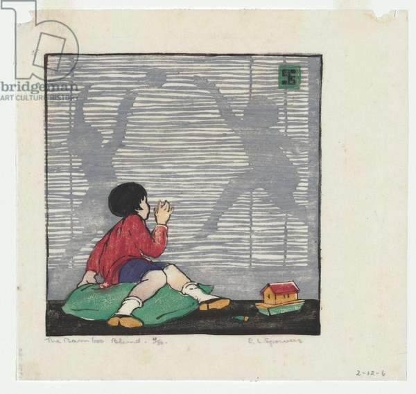 The bamboo blind, c.1926 (colour linocut)