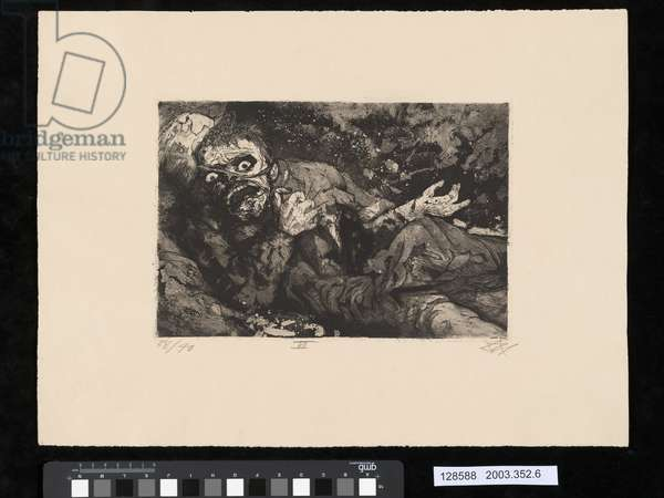 Wounded solider, 1916, Bapaume, illustration from the portfolio 'Der Krieg', 1924 (etching & aquatint)