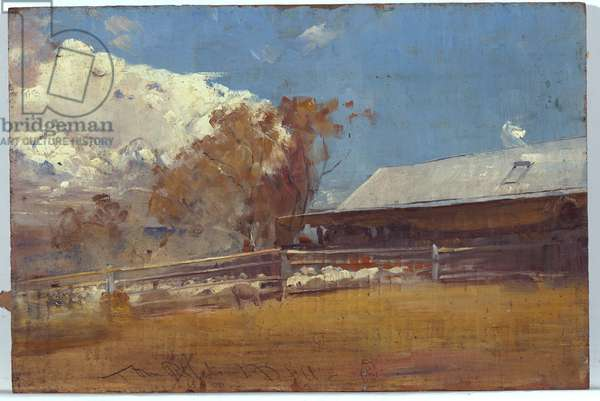 Shearing shed, Newstead, 1893-94 (oil on panel)