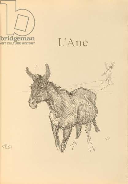 L'ane, illustration from 'Histoires naturelles' by Jules Renard, 1897 (brush transfer litho)