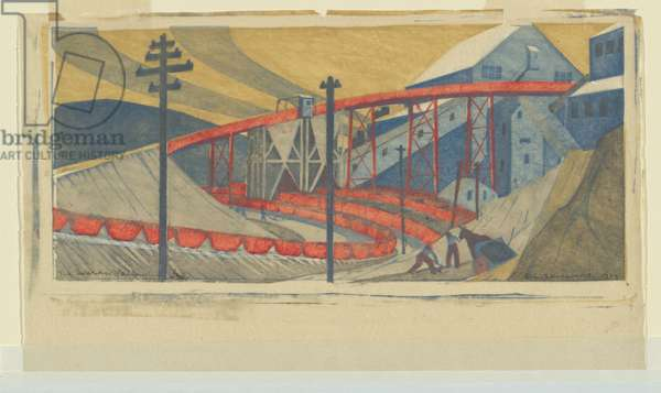The Works, Yallourn, 1933 (colour linocut)