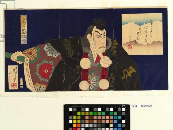 Ichikawa Danjuro IX as Musashiro Benkei in Kanjincho, 1890 (colour woodblock print)