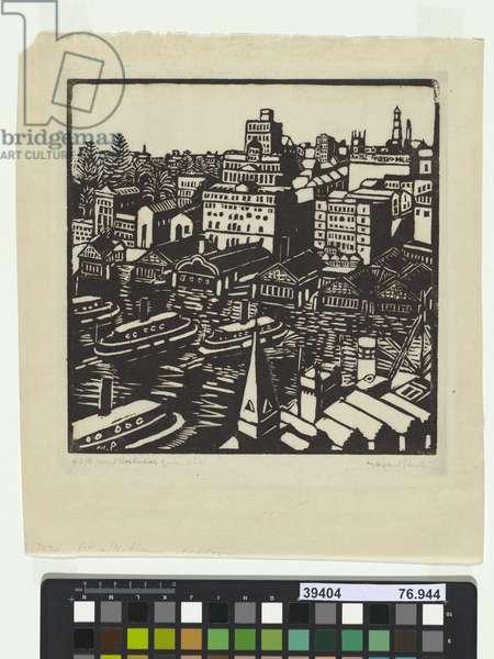 Circular Quay, 1925 (woodcut)