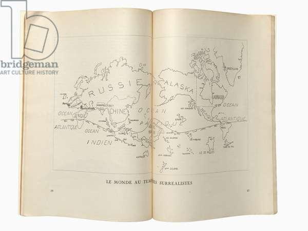 Le Monde au temps des Surrealists [known as the Surrealist map of the world], from 'Variétés - Le Surréalisme en 1929 [Varieties - Surrealism in 1929]', by Louis Aragon, André Breton, Paul Eluard, & P.G. van Hecke, 1929 (engraving)