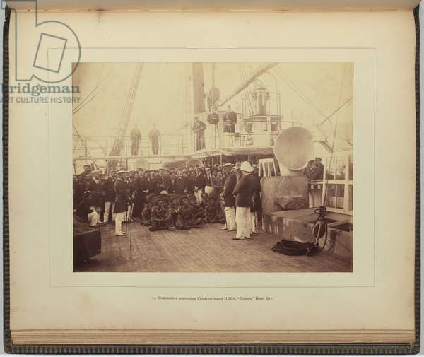 Commodore addressing chiefs on board H.M.S. Nelson, Hood Bay, 1884 (albumen silver photo)