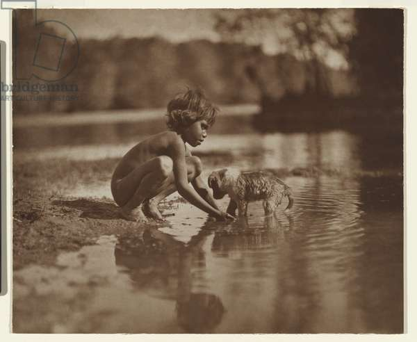 Native child and puppy, 1914 (carbon photo)
