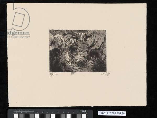 Shot to pieces, illustration from the portfolio 'Der Krieg', 1924 (etching, aquatint & drypoint)