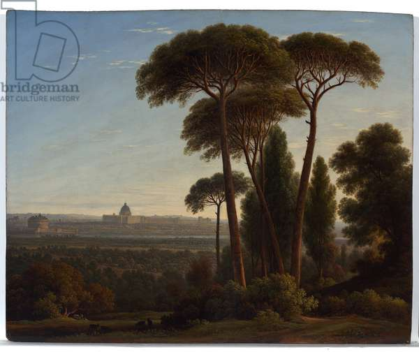 Rome with St. Peter's and the Castel Sant'Angelo, c.1821 (oil on oak panel)