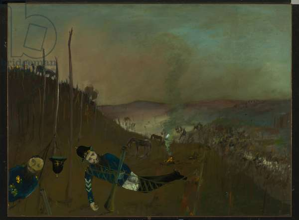 Morning Camp, 1947 (enamel on composition board)