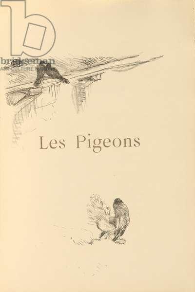 Les pigeons, illustration from 'Histoires naturelles' by Jules Renard, 1897 (brush transfer litho)