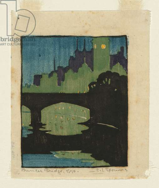 Princes Bridge, c.1927 (colour linocut)