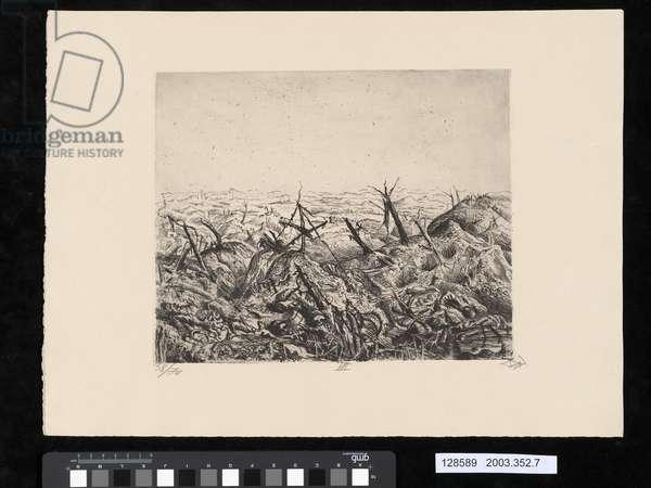 Near Langemark, 1918, illustration from the portfolio 'Der Krieg', 1924 (aquatint)