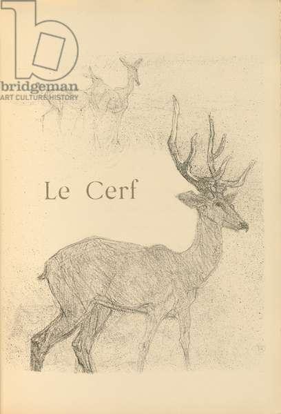 Le Cerf, illustration from 'Histoires naturelles' by Jules Renard, 1897 (brush transfer litho)