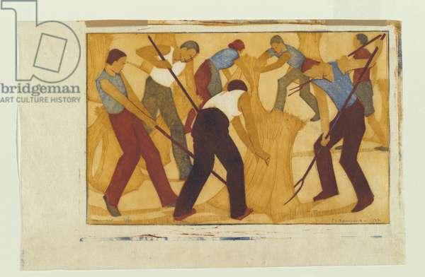 Harvest, 1932 (colour linocut)