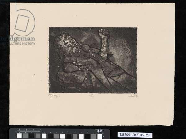Dead man in the mud, illustration from the portfolio 'Der Krieg', 1924 (etching & aquatint)