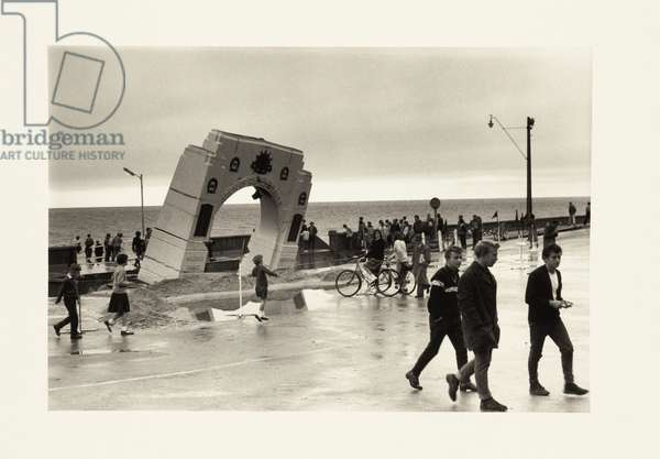 Anzac Memorial at Brighton Beach, Adelaide, damaged by severe storm, 1963 (b/w photo)