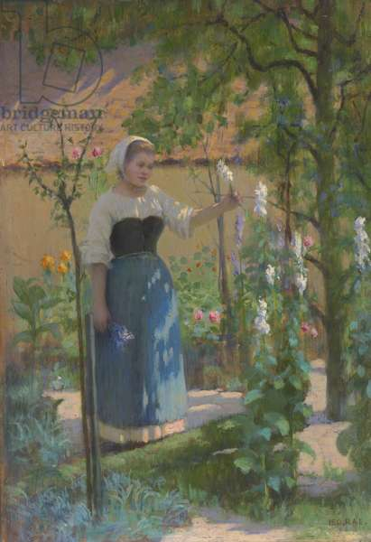 Woman in garden, 1898 (oil on panel)