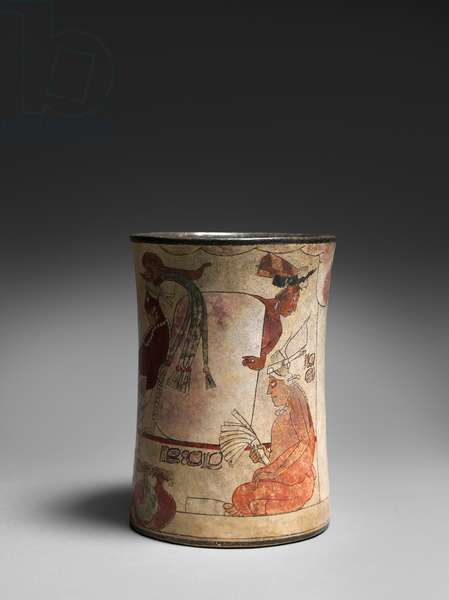 Vase with enthroned ruler, 550-900 AD (earthenware & pigment)