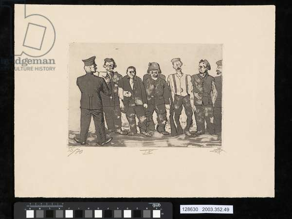Roll call of the returning troops, illustration from the portfolio 'Der Krieg', 1924 (etching, aquatint & drypoint)