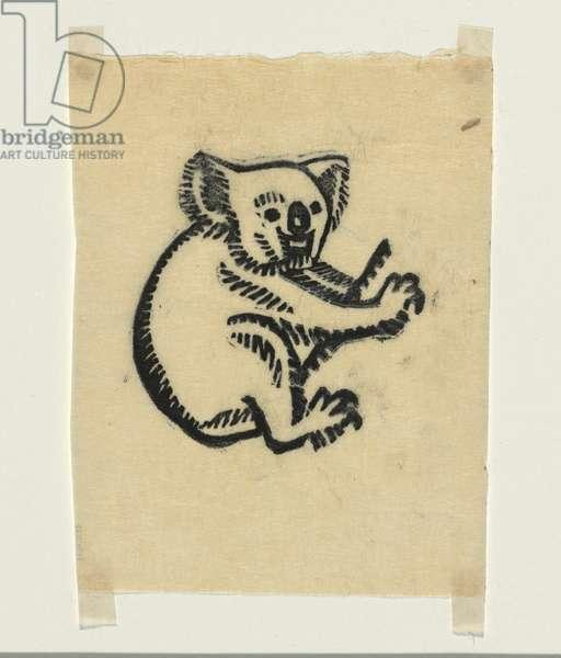Koala bear, c.1935 (colour linocut)