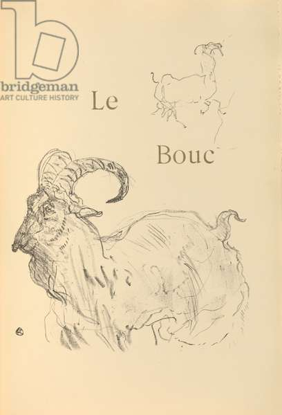 Le bouc, illustration from 'Histoires naturelles' by Jules Renard, 1897 (brush transfer litho)