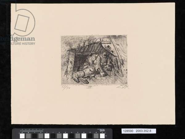 Relay post, Autumn battle in Champagne, illustration from the portfolio 'Der Krieg', 1924 (etching & drypoint)