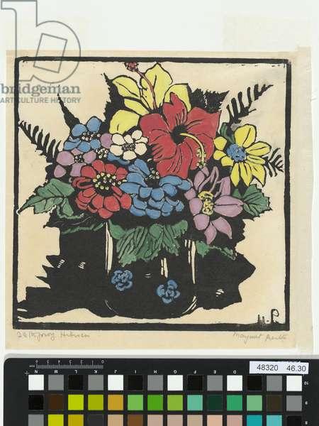 Hibiscus, 1925 (hand-coloured woodcut)