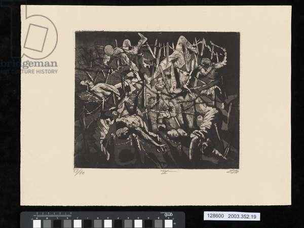 Dance of Death, Dead Man's Hill, 1917, illustration from the portfolio 'Der Krieg', 1924 (etching, aquatint & drypoint)