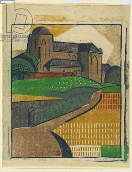 Old Church, Veere, c.1933 (colour linocut)
