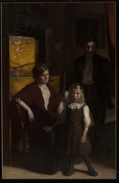 The Yellow Screen (Family Group) 1910-11 (oil on canvas mounted on composition board)