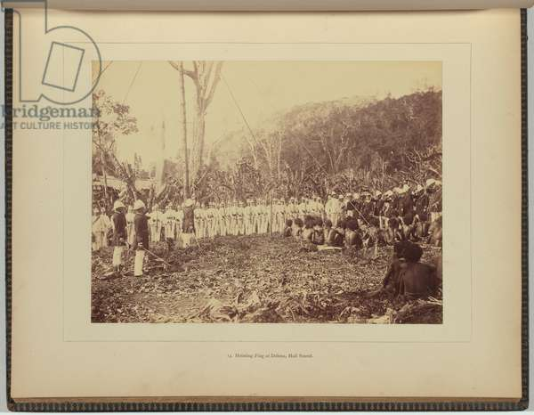 Hoisting flag at Delena, Hall Sound, 1884 (albumen silver photo)