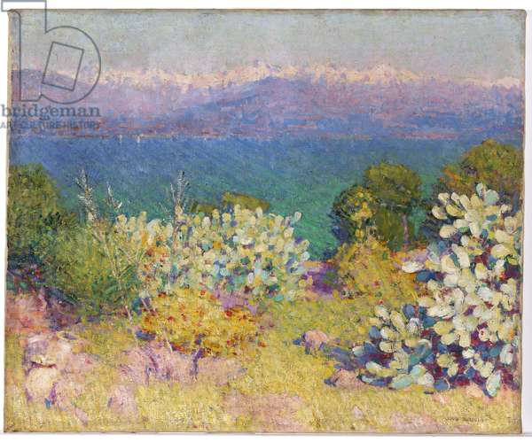 In the Morning, Alpes Maritimes from Antibes, 1890-91 (oil on canvas)