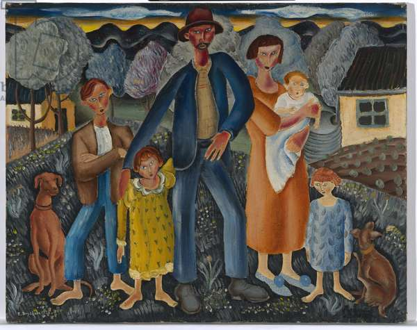 The rabbiter and his family, 1938 (oil on canvas)