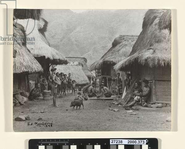 Late afternoon village scene. Butbut, Tinglayan, Kalinga, 1948 (b/w photo)